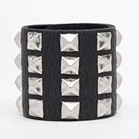 4 Rows Spaced Pyramids on a Snap Black Leather Bracelet