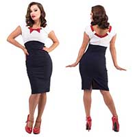 Katy High Waisted Bow Dress By Steady Clothing - Red Bow w White Top & Navy Bottom - SALE sz 4X only