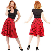 Red & Black Polka Dot Thrills High Waisted Skirt By Steady Clothing - SALE