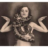 Vintage Side Show Snake Charmer - Fine Art Print by Annex
