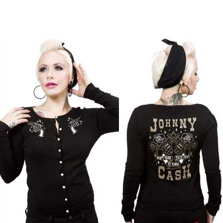 Johnny Cash- Guns Cardigan in Black by Sourpuss - SALE