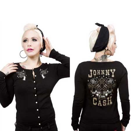 Johnny Cash- Guns Cardigan in Black by Sourpuss - SALE