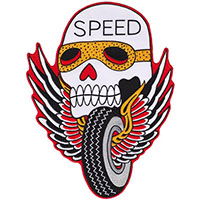 Speed Skull Small Embroidered Patch by Thrillhaus (EP758)