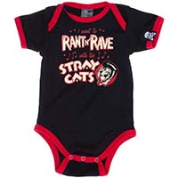 Stray Cats Rant N Rave black onesie by Sourpuss(S:0-3m, M:3-6m, L:6-12m, XL:12-18m) - SALE