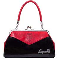Backseat Baby Kisslock Devil Pinstripe Purse in RED & BLACK by Sourpuss - SALE