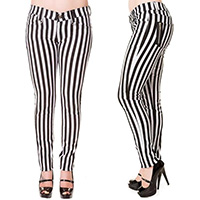 Beetlejuice Black & White Stripe Skinny Jeans by Banned Apparel