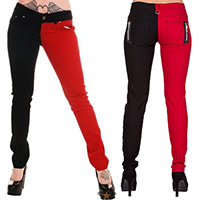 Night After Night Split Skinny Pants by Banned Apparel - Red/Black