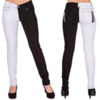 Night After Night Split Skinny Pants by Banned Apparel - White/Black