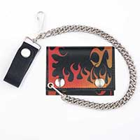 Flame Wallet- Black Leather Wallet with Orange And Red Flames (Comes With Chain)