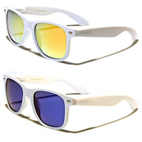 Sunglasses- WHITE WITH MIRRORED LENS (Various Colors!)