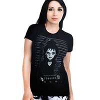 Babydoll Shirt by Too Fast Clothing- Beetlejuice Lydia Mugshot - SALE sz M & L Only
