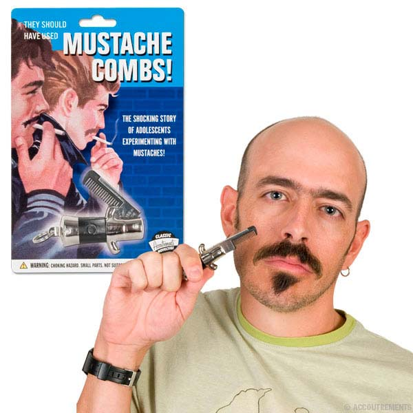Switchblade Mustache Comb by Accoutrements