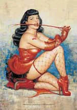 Bettie Page- With Whip Fabric Poster/Wall Tapestry