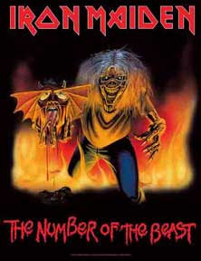 Iron Maiden- Number Of The Beast (82-83- black background) Textile Poster