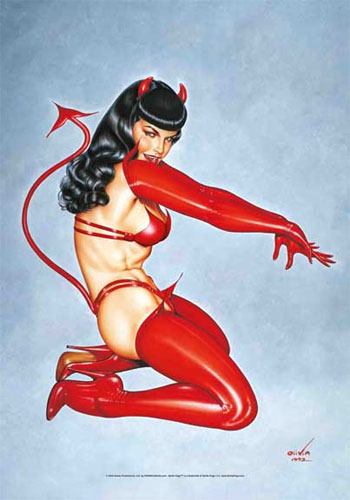 Bettie Page- Devil Bettie Fabric Poster/Wall Tapestry