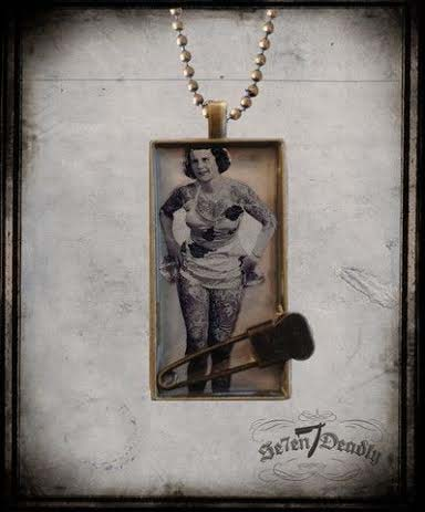 Tattooed Lady - Betty Broadbent Sideshow Necklace by Se7en Deadly - SALE
