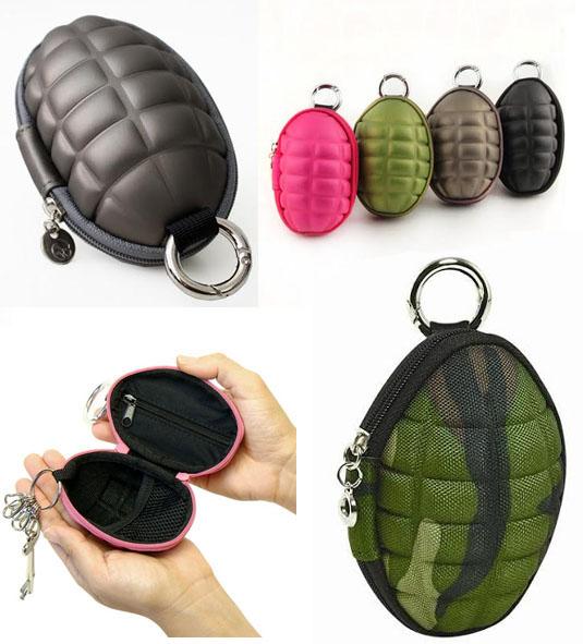 Hand Grenade Wallet (Key & Coin Case) With Key Chain - black only
