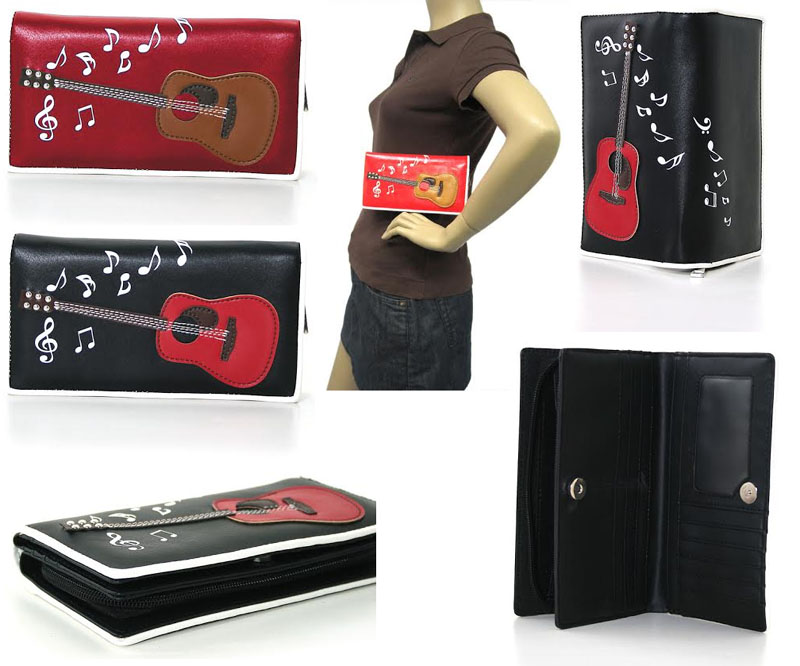 Rockabilly Guitar Bi-fold Wallet/Clutch - choose black or red - SALE