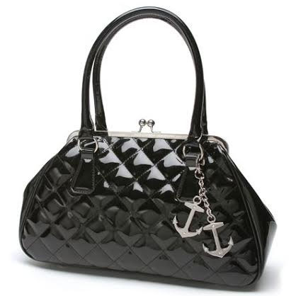 Bon Voyage Kiss Lock Bag by Lux De Ville- SHINY BLACK - SALE