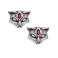 Sacred Cat Pewter Stud Earrings -by Alchemy England 1977