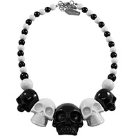 Skull Collection Necklace by Kreepsville 666 - Two Tone Black & White