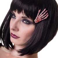 Glow in the Dark Skeleton Hand hair clip by Banned Apparel - 2 styles to choose from