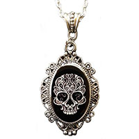 Filigree Skull Cameo Necklace by Alkemie