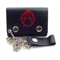 Anarchy On A Black Leather Wallet (Comes With Chain)
