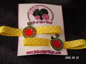 Cherry Bomb on Yellow Ribbon Barrettes by Be Bop Hair Wear (Sale price!)