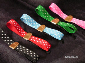 Tiny Tomstone Barrettes On Colored Ribbon by Be Bop Hair Wear (Sale price!)