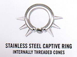 Surgical Grade Stainless Steel Captive Ring With Captive Bead And Internally Threaded Cones