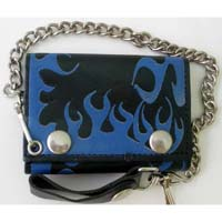 Flame Wallet- Black Leather Wallet With Blue Flames (Comes With Chain)