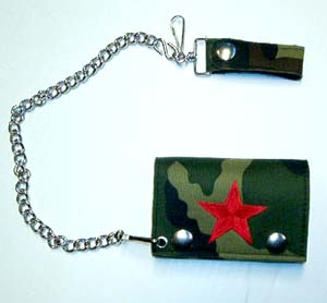 Camoflage Wallet With Embroidered Red Star (Comes with chain!)