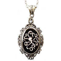 Cameo Costeau Ink Octopus (Black & White) Necklace by Alkemie