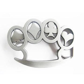 Brass Knuckles belt buckle (Card Suit Finger Holes) (bb165)