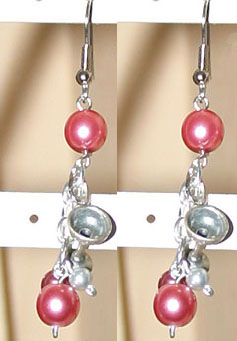 Pink Pearl & Champagne Glass Dangle Earrings by Eldorado Club International- SALE