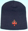 Flaming Spade Embroidered on a winter beanie (Sale price!)