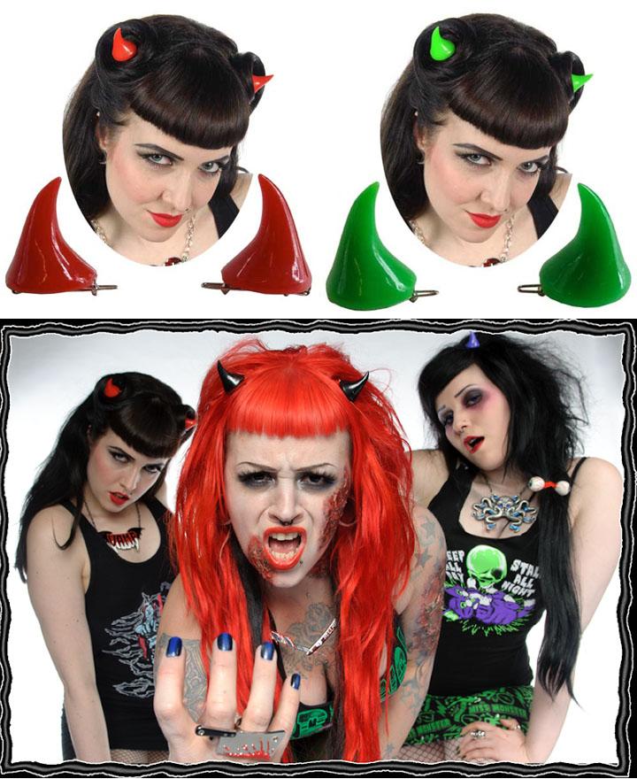 Horror Horns Hair Clips by Kreepsville 666 - Choose Red or Black