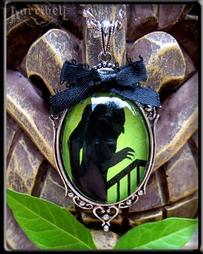 Nosferatu Necklace on Green  by Horribell