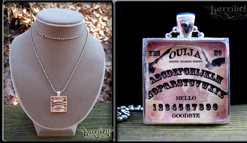 Ouija Board Bat Tile Necklace by Horribell