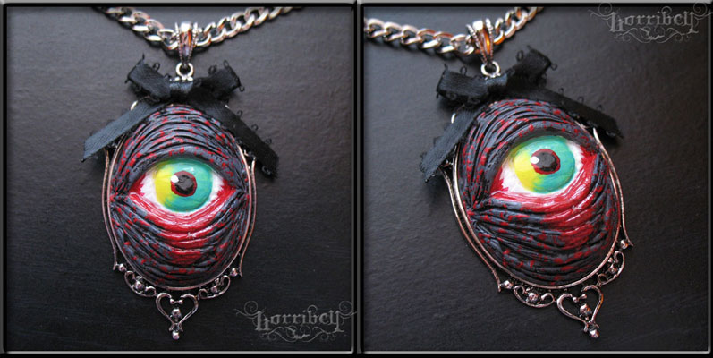 Zombie Eye Necklace in GREY by Horribell
