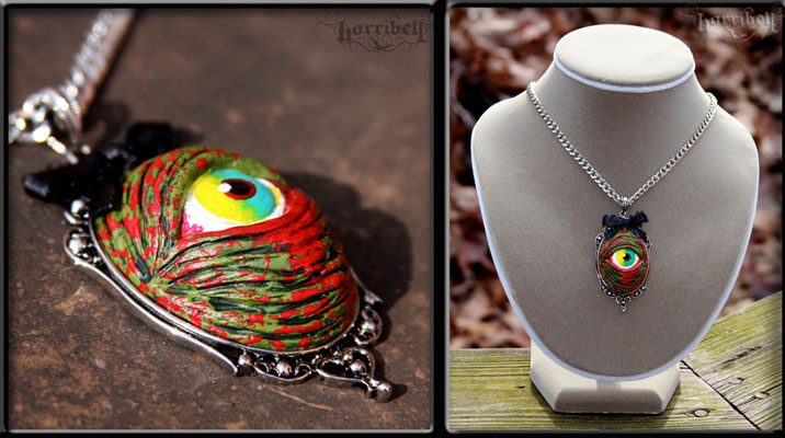 Zombie Eye Necklace in GREEN by Horribell