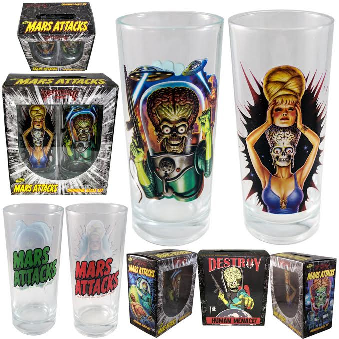 Mars Attacks Glass Set by Kreepsville 666