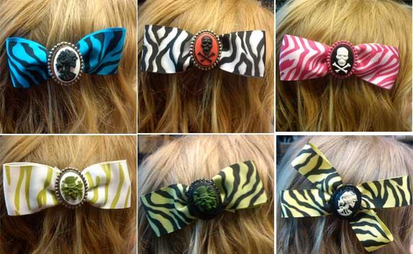 Jezebows zebra hair clips by Hairy Scary - SALE Green Zebra only
