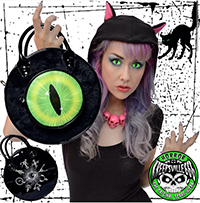 Black Cat Evil Eyeball Vinyl Bag by Kreepsville 666
