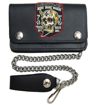 "Booze Bikes Broads 6 1/2"" leather wallet with chain by Lucky 13"