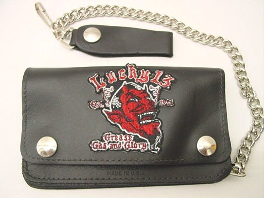 "Grease Gas & Glory- 6"" leather patch wallet with chain by Lucky 13"