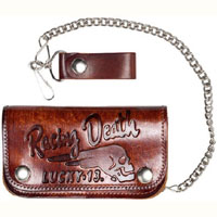 "Death Racer Antiqued 6 "" wallet with chain by Lucky 13"