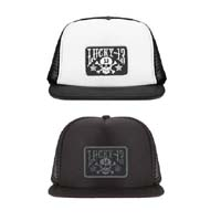 Skull & Stars (Patch) Flat Bill Trucker Hat by Lucky 13 Clothing