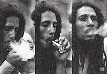 Bob Marley- Triple Smoke Fabric Poster